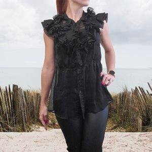 Bcbgmaxazria ruffle neck sleeveless sheer blouse
